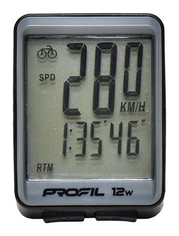 cyklocomputer PROFIL 12W bezdrátový černo-šedý