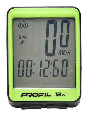 cyklocomputer PROFIL 12W bezdrátový černo-zelený
