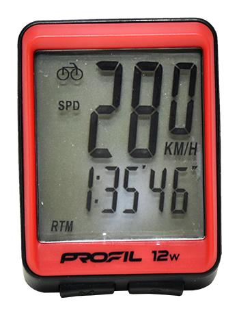 cyklocomputer PROFIL 12W bezdrátový černo-červený