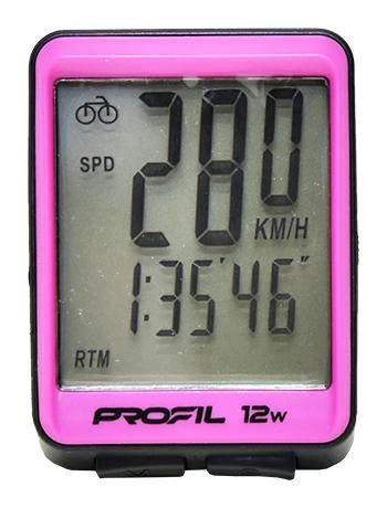 cyklocomputer PROFIL 12W bezdrátový černo-růžový