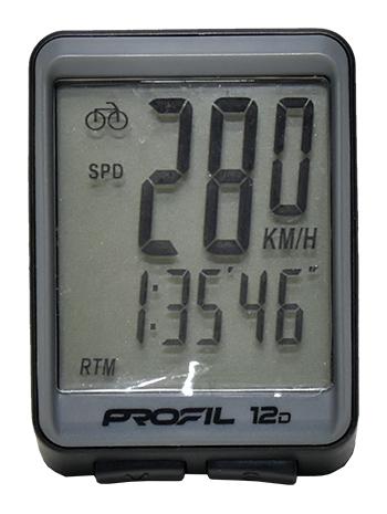 cyklocomputer PROFIL 12D drátový černo-šedý