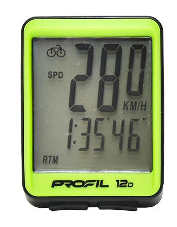cyklocomputer PROFIL 12D drátový černo-zelený