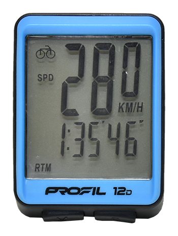cyklocomputer PROFIL 12D drátový černo-modrý